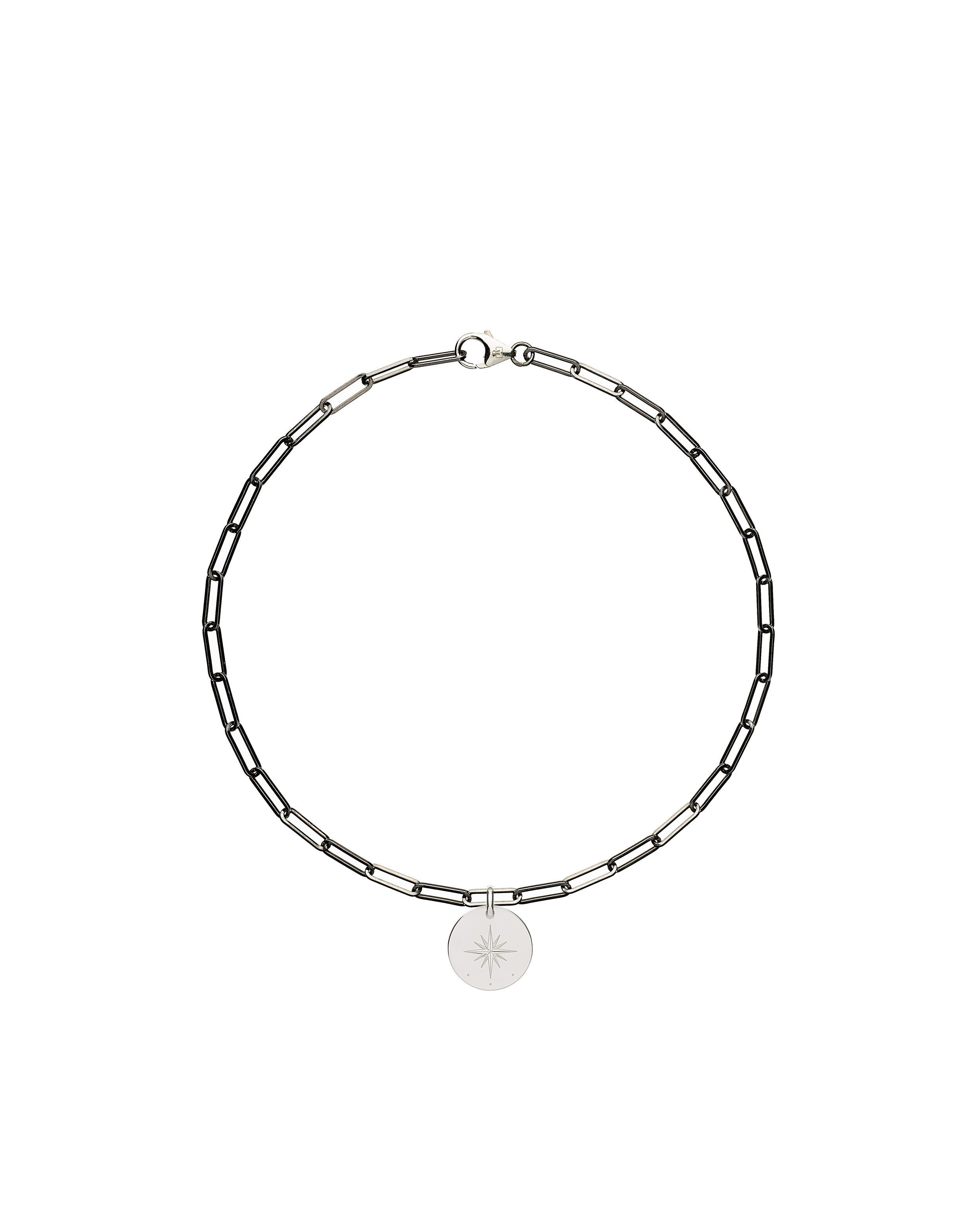 solid 925 Sterling silver and black ruthenium chain choker luxury necklace from Regalia Black Logo collection with a round 925 solid Sterling silver pendant laser engraved with brand's symbol