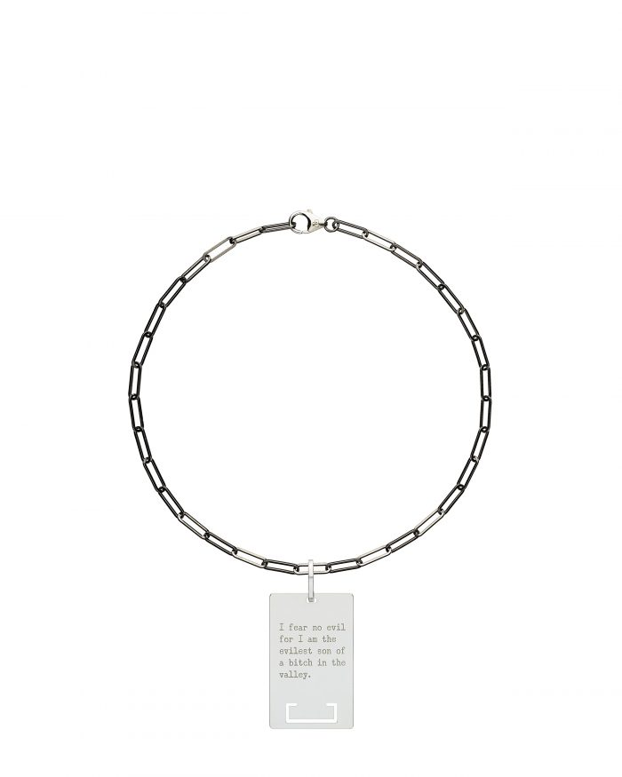 solid 925 Sterling silver and black ruthenium chain choker luxury necklace from Regalia Black Logo collection with massive military 925 solid Sterling silver pendant laser engraved with Regalia message