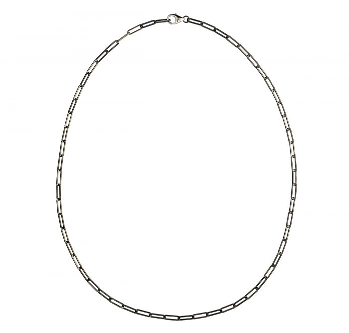 solid 925 Sterling silver and black ruthenium chain luxury necklace from Regalia Black Logo collection