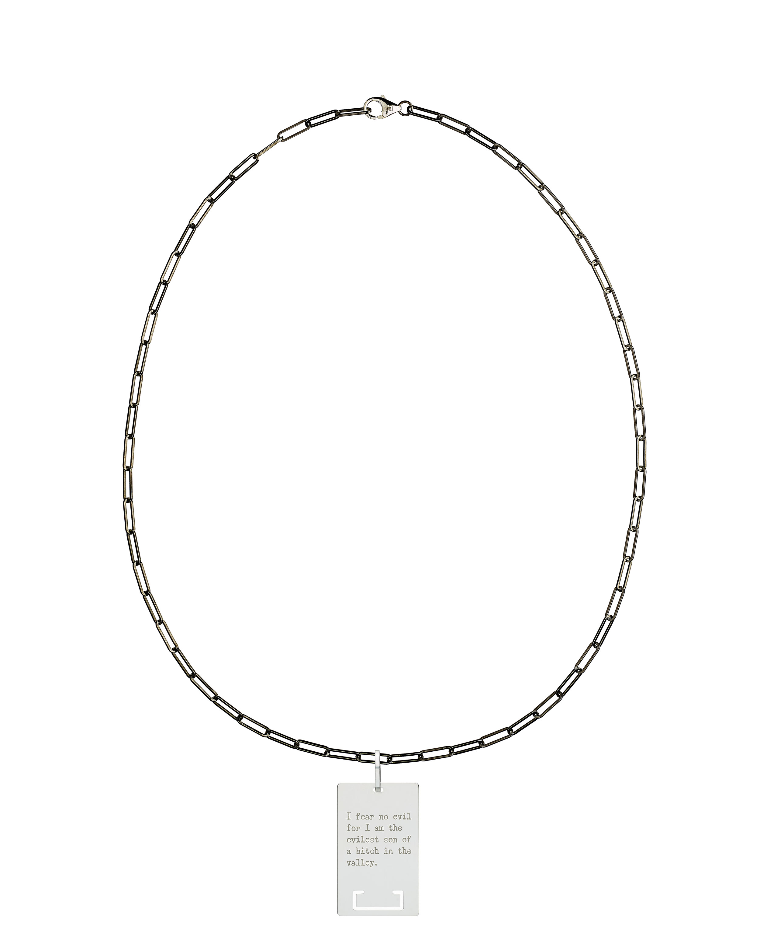 solid 925 Sterling silver and black ruthenium chain luxury necklace from Regalia Black Logo collection with massive military 925 solid Sterling silver pendant laser engraved with Regalia message