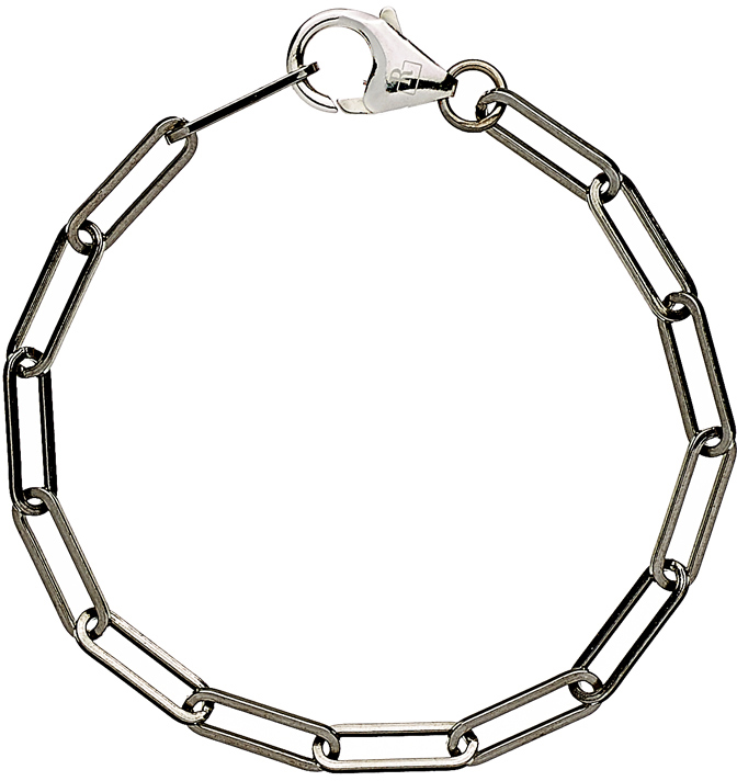 Bracelet chaîne maille allongée argent massif 925 ruthenium
