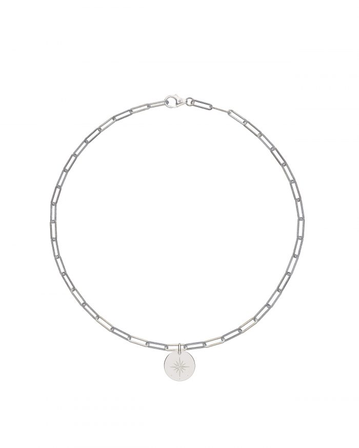 solid 925 Sterling silver chain luxury necklace from Regalia Logo collection with a round 925 solid Sterling silver pendant laser engraved with brand's symbol