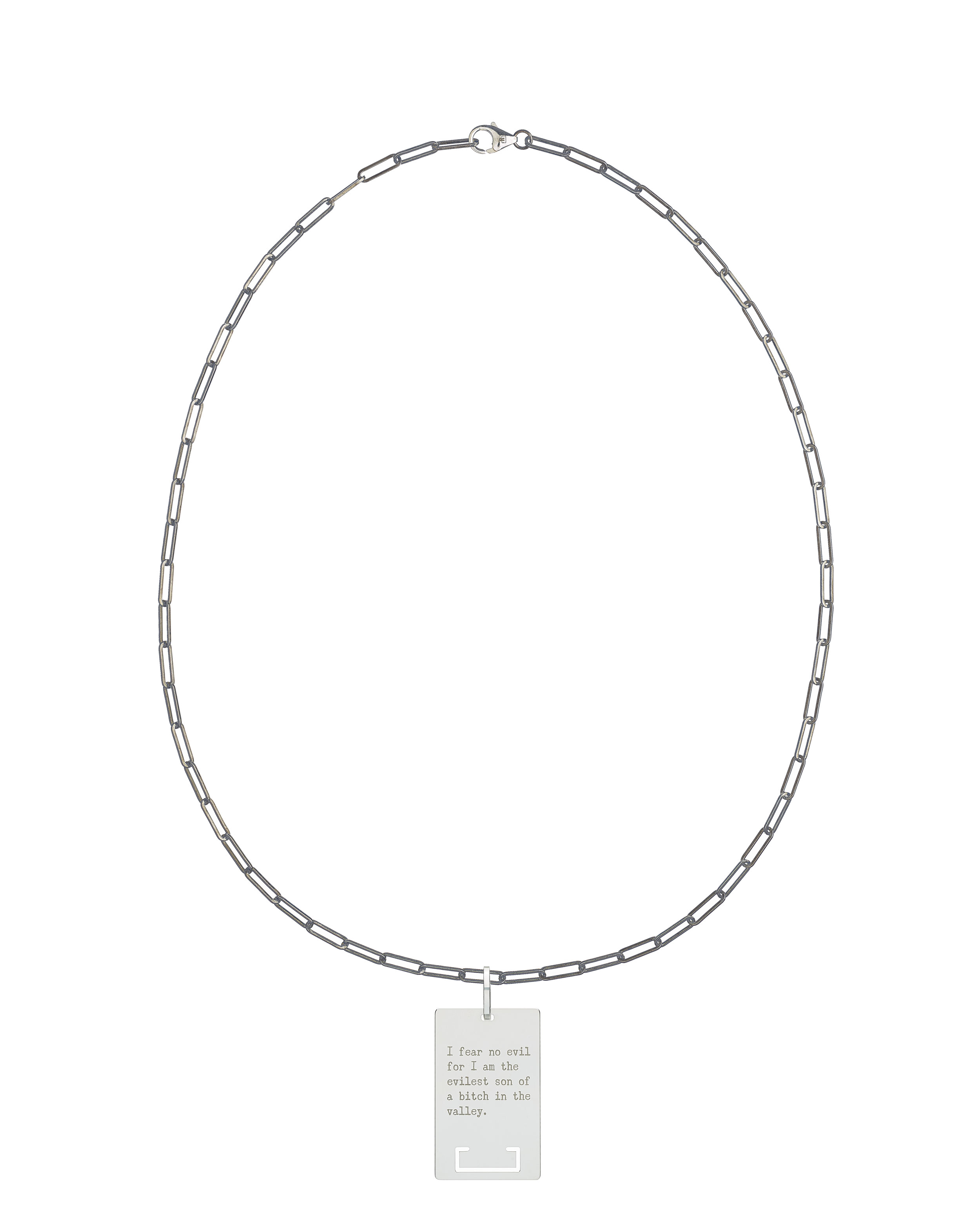 solid 925 Sterling silver chain luxury necklace from Regalia Logo collection with massive military 925 solid Sterling silver pendant laser engraved with Regalia message