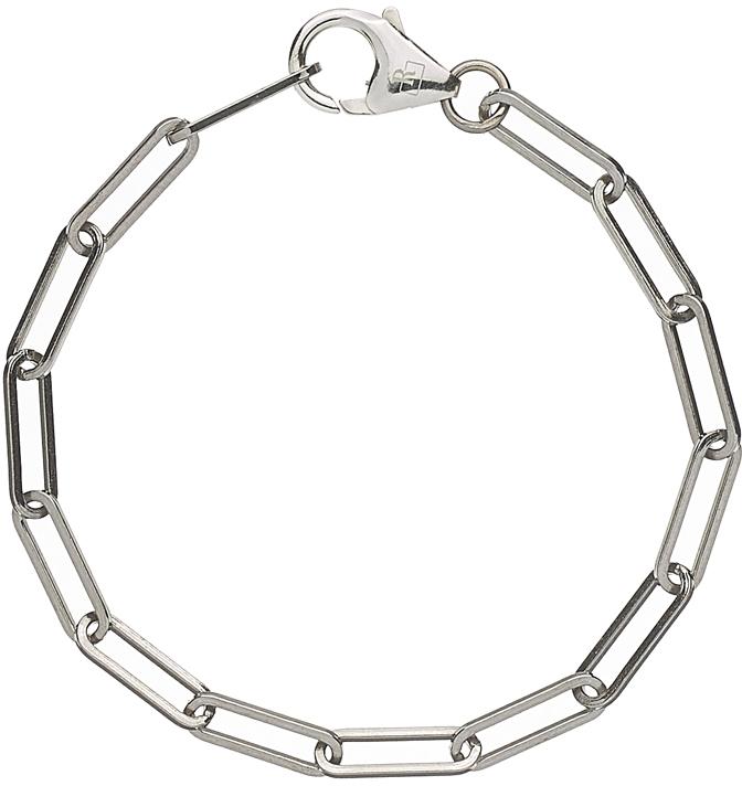 Bracelet chaîne maille allongée argent massif 925