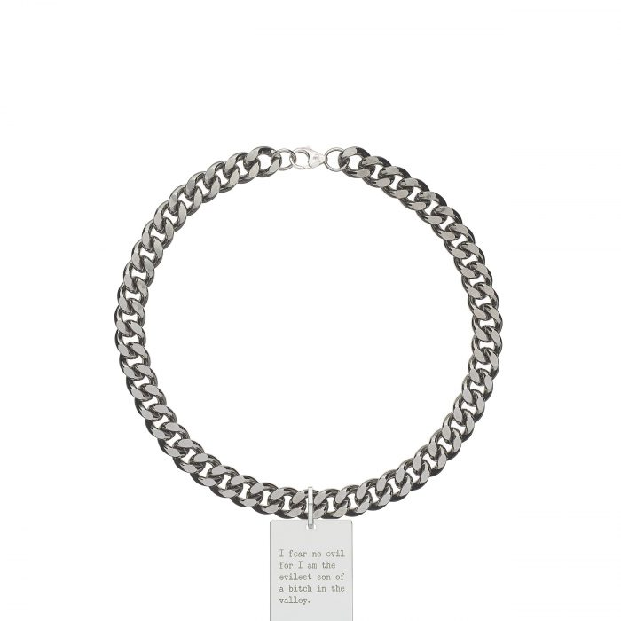 solid 925 Sterling silver and black ruthenium heavy street style hip hop chain choker luxury necklace from Regalia Octogone collection with massive military 925 solid Sterling silver pendant laser engraved with Regalia message