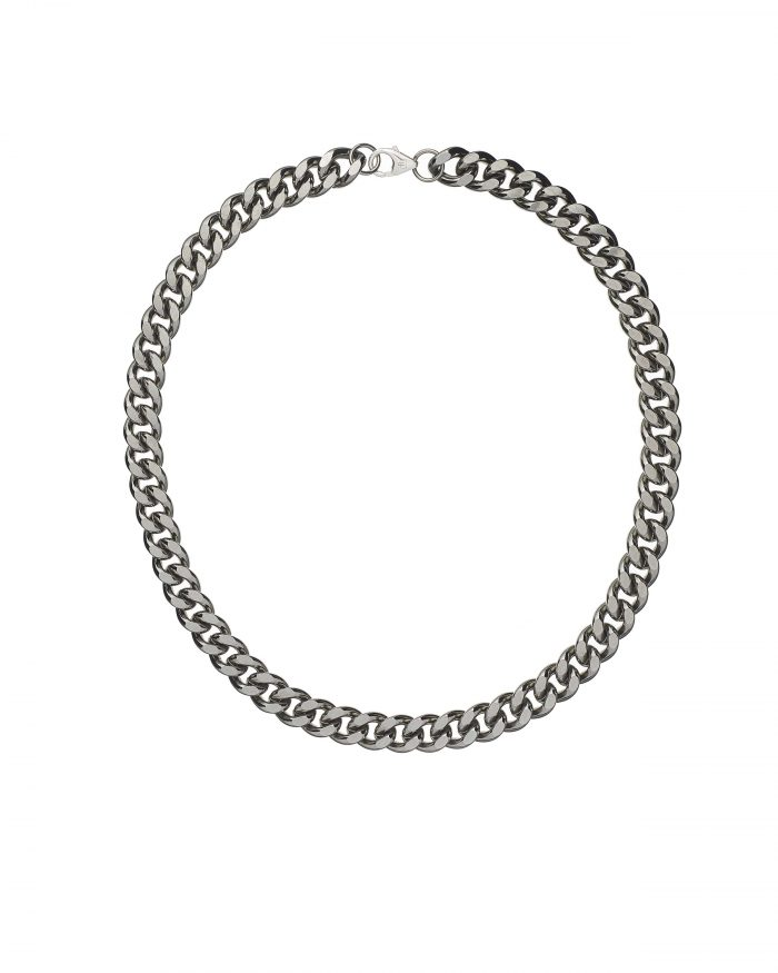 solid 925 Sterling silver and black ruthenium heavy street style hip hop chain luxury necklace from Regalia Octogone collection