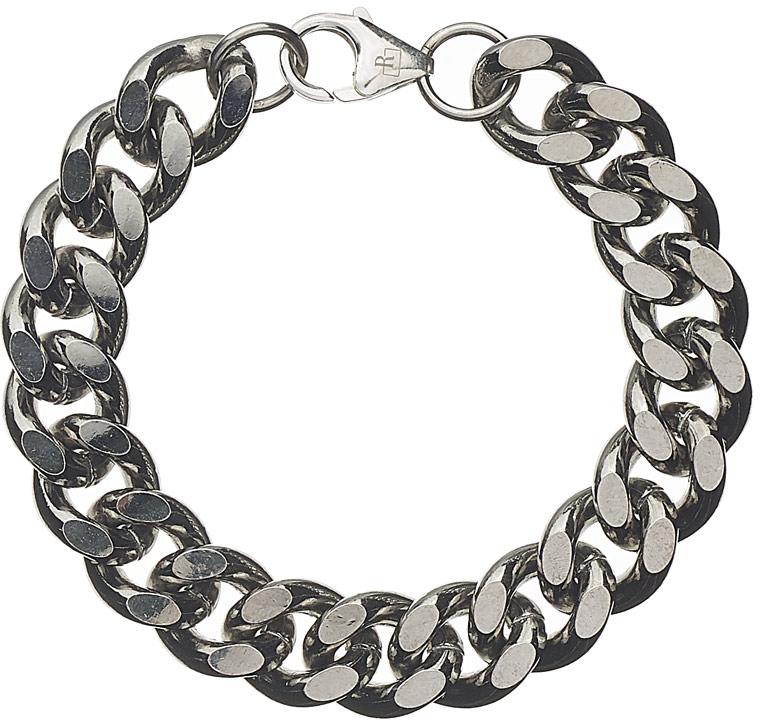 Bracelet chaîne maille cubaine argent massif 925 ruthenium
